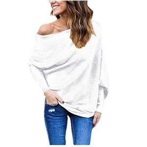 Sweaters - Women's Off Shoulder Batwing Sleeve Loose Pullover